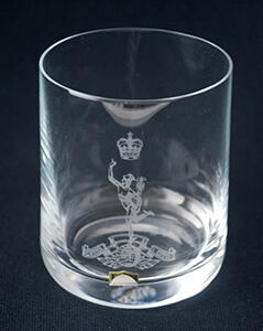 The Royal Signals Glencairn Whisky Glass with Engraved Signals Cap Badge.